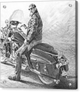 Harley Rider Pencil Portrait Acrylic Print