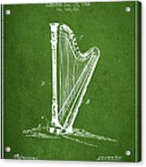 Harp Music Instrument Patent From 1901 - Green Acrylic Print