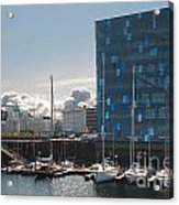Harpa And The Harbor In Reykjavik Acrylic Print