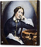 Harriet Beecher Stowe (1811-1896). American Abolitionist And Writer. Oil Over A Daguerrotype, C1852 Acrylic Print