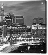 Hartford Skyline At Night Bw Black And White Panoramic  Acrylic Print