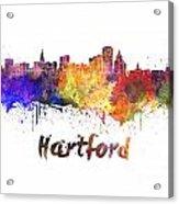 Hartford Skyline In Watercolor Acrylic Print