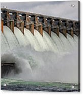 Hartwell Dam With Flood Gates Open Acrylic Print