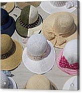 Hats For Sale Next To Marina, Lerici Acrylic Print