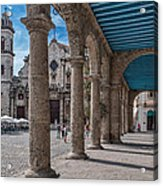 Havana Cathedral And Porches. Cuba Acrylic Print by Juan Carlos Ferro Duque