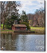 Haverford Skating Cabin Acrylic Print by Kay Pickens
