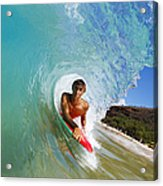 Hawaii, Maui, Makena - Big Beach, Boogie Boarder Riding Barrel Of Beautiful Wave Along Shore. Acrylic Print