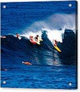 Hawaii Oahu Waimea Bay Surfers Acrylic Print by Anonymous