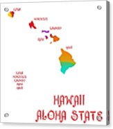 Hawaii State Map Collection 2 Acrylic Print