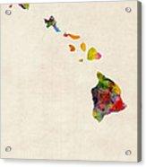 Hawaii Watercolor Map Acrylic Print