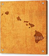 Hawaii Word Art State Map On Canvas Acrylic Print