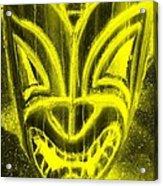 Hawaiian Mask Negative Yellow Acrylic Print