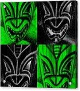 Hawaiian Masks Black Green Acrylic Print