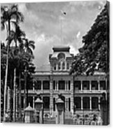 Hawaii's Iolani Palace In Bw Acrylic Print