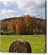 Hay Bale In Country Field Acrylic Print