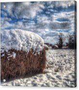 Hay Bale In The Snow Acrylic Print