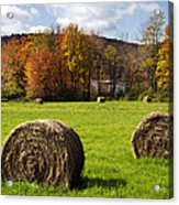 Hay Bales And Fall Colors Acrylic Print