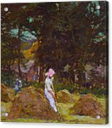 Haymaking  Acrylic Print by Elizabeth Adela Stanhope Forbes