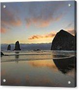 Haystack And Sunset Along Oregon Coast Acrylic Print