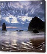 Haystack Rock At Sunset Acrylic Print by Andrew Soundarajan