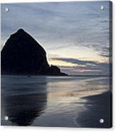 Haystack Rock On Cannon Beach Oregon Evening Acrylic Print