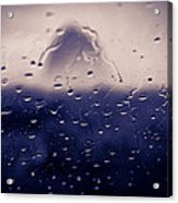Haystack Rock Rain Acrylic Print