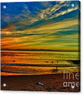 hd 329 Surfboard In The Sand-edted version Acrylic Print