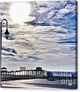 Hdr Beachtown Beach Ocean Sand Pier Sunrise Clouds Relaxation Photography Photos Sale Gallery Buy  Acrylic Print by Pictures HDR