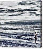 Hdr Black White Color Effect Fisherman Beach Ocean Sea Seascape Landscape Photography Image Photo  Acrylic Print