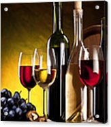 Hdr Style Wine Glasses Bottle Cask And Grapes Acrylic Print