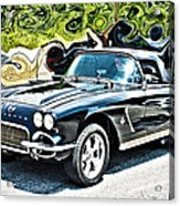 Chevrolet Corvette Vintage With Curly Background Acrylic Print