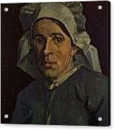 Head Of A Peasant Woman With White Cap Acrylic Print