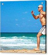 Healthy Man Running On The Beach Acrylic Print by Anna Om