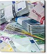 Heap Of Euro Bills Acrylic Print by Handmade Pictures