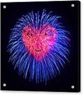 Heart Fireworks Face Acrylic Print
