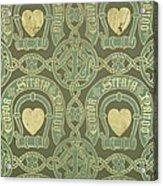 Heart Motif Ecclesiastical Wallpaper Acrylic Print