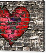 Heart On The Old Wall Acrylic Print