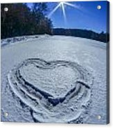 Heart Outlined On Snow On Topw Of Frozen Lake Acrylic Print