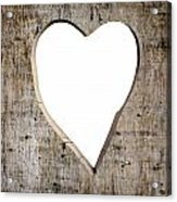Heart Shape Carved Into A Plank Acrylic Print