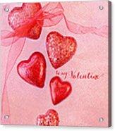 Hearts And Ribbon - Be Mine Acrylic Print