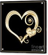 Hearts In Gold And Ivory On Black Acrylic Print