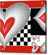 Hearts On A Chessboard Acrylic Print