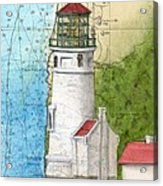 Heceta Head Lighthouse Or Nautical Chart Map Art Cathy Peek Acrylic Print