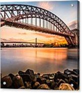 Hell Gate And Triboro Bridge At Sunset Acrylic Print
