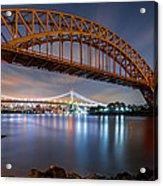 Hell Gate And Triboro Bridge By Night Acrylic Print