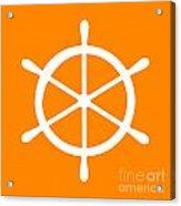 Helm In White And Orange Acrylic Print