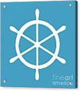 Helm In White And Turquoise Blue Acrylic Print