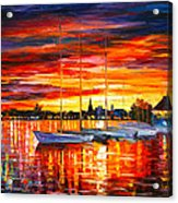 Helsinki Sailboats At Yacht Club Acrylic Print by Leonid Afremov