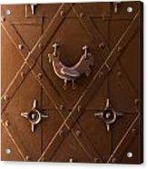 Hen Shaped Doorknob On A Brown Metal Doors Acrylic Print