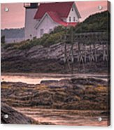 Hendricks Head Light At Sunset - Portrait Acrylic Print by At Lands End Photography